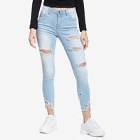 CELLO Women's Mid Rise Distressed Cropped Skinny Jeans