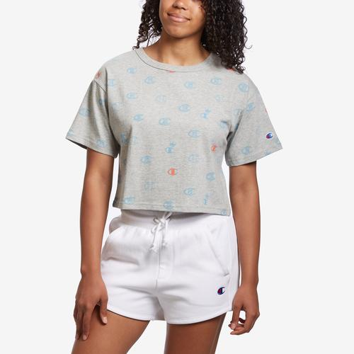 Champion Life Crop Tee, Allover Logo Print
