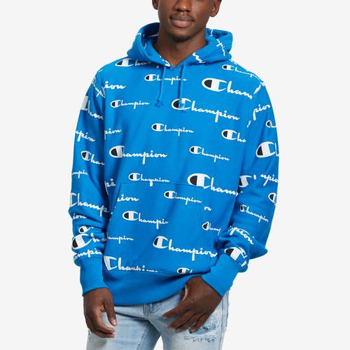 Champion Men's Reverse Weave Pullover Hood, All-Over Logo