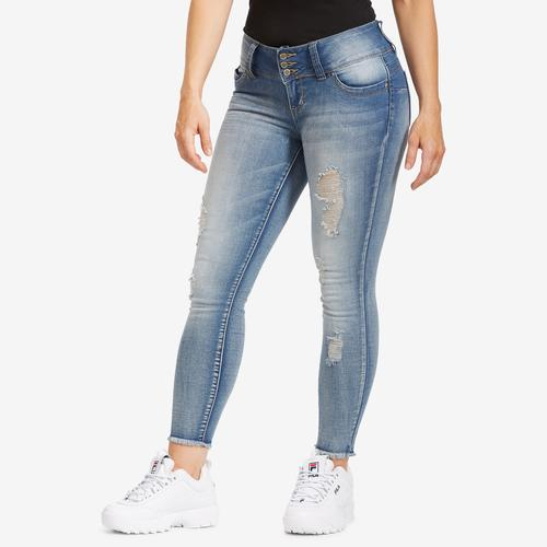 YMI Women's WannaBettaButt 3-Button Denim Ankle Jeans
