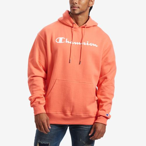 Champion Men's Powerblend Fleece Pullover Hoodie, Script Logo