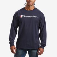 Champion Men's Cotton Jersey Long-Sleeve Tee, Script Logo