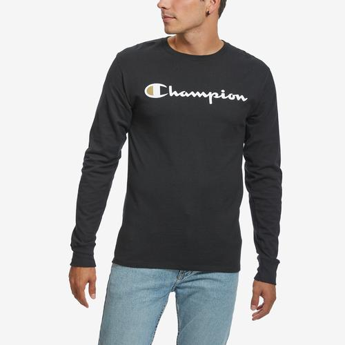 Champion Men's Cotton Jersey Long-Sleeve Tee, Script Logo