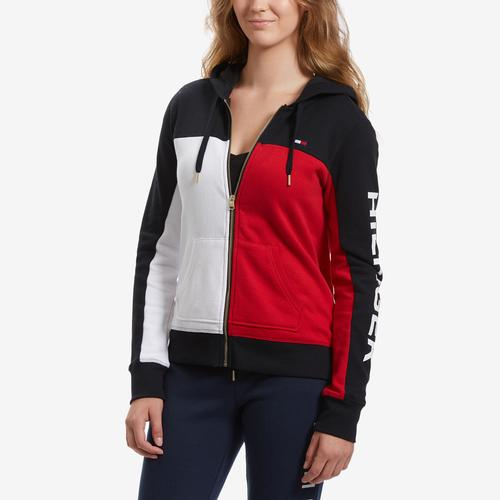 Tommy Hilfiger Women's Color Block Zip Up Hoodie