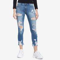 CELLO Women's Distressed Crop Frayed Hem Skinny Jeans