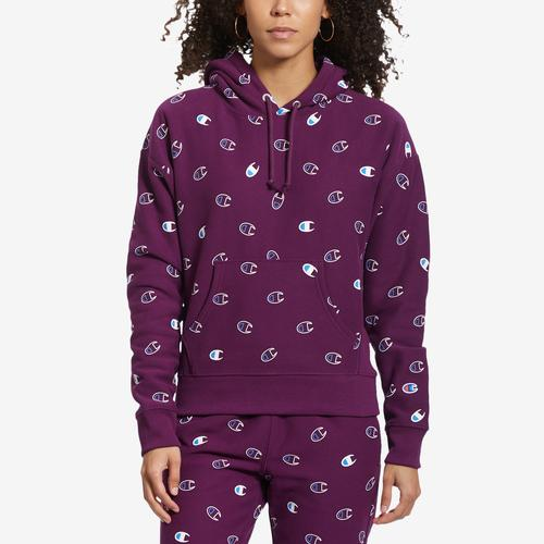 Champion Life Reverse Weave Pullover Hood, All-over Logo