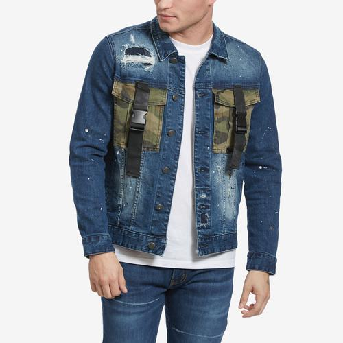 Smoke Rise Men's Denim Camo Jacket With Straps