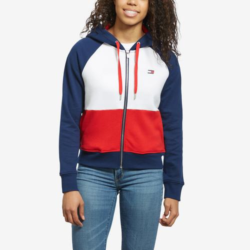 Tommy Hilfiger Women's Cropped Color Block Full Zip Hoodie