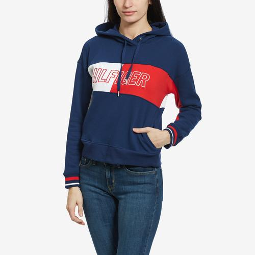 Tommy Hilfiger Women's Cropped Color Block Logo Hoodie