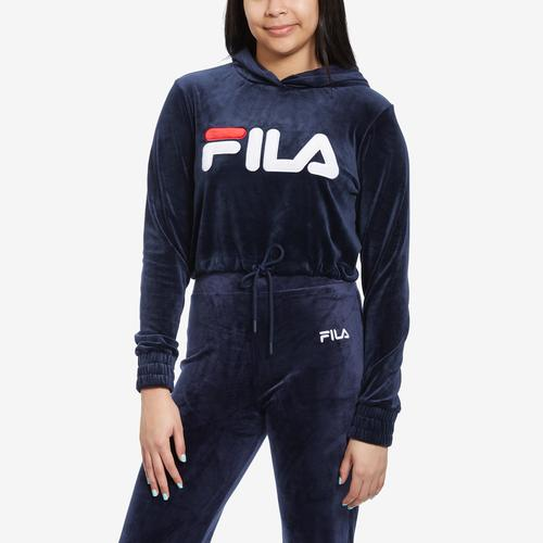 FILA Women's Aitana Crop Velour Hoodie