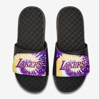 ISlides Men's Los Angeles Lakers Tie Dye Logo Slide