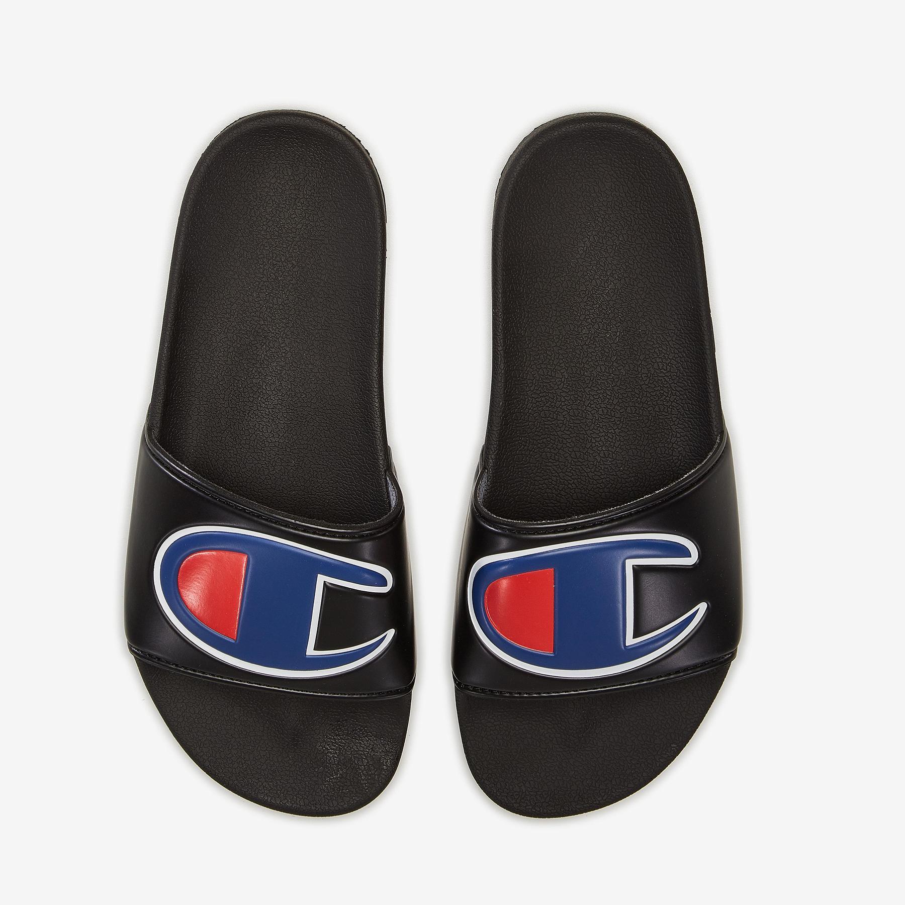 Boy's Grade School Life Slide Sandals, Repeating Logo