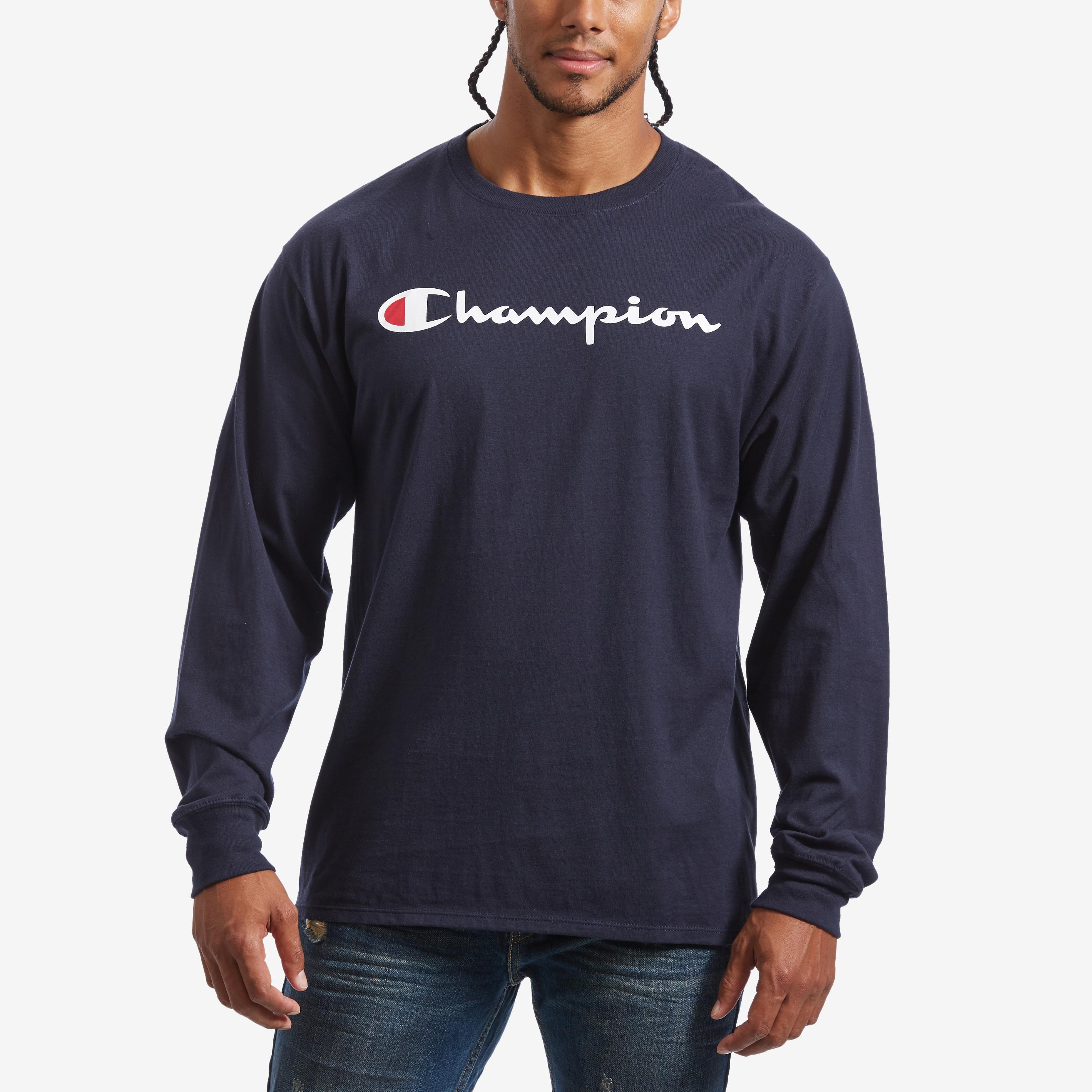 Men's Cotton Jersey Long- Sleeve Tee, Script Logo