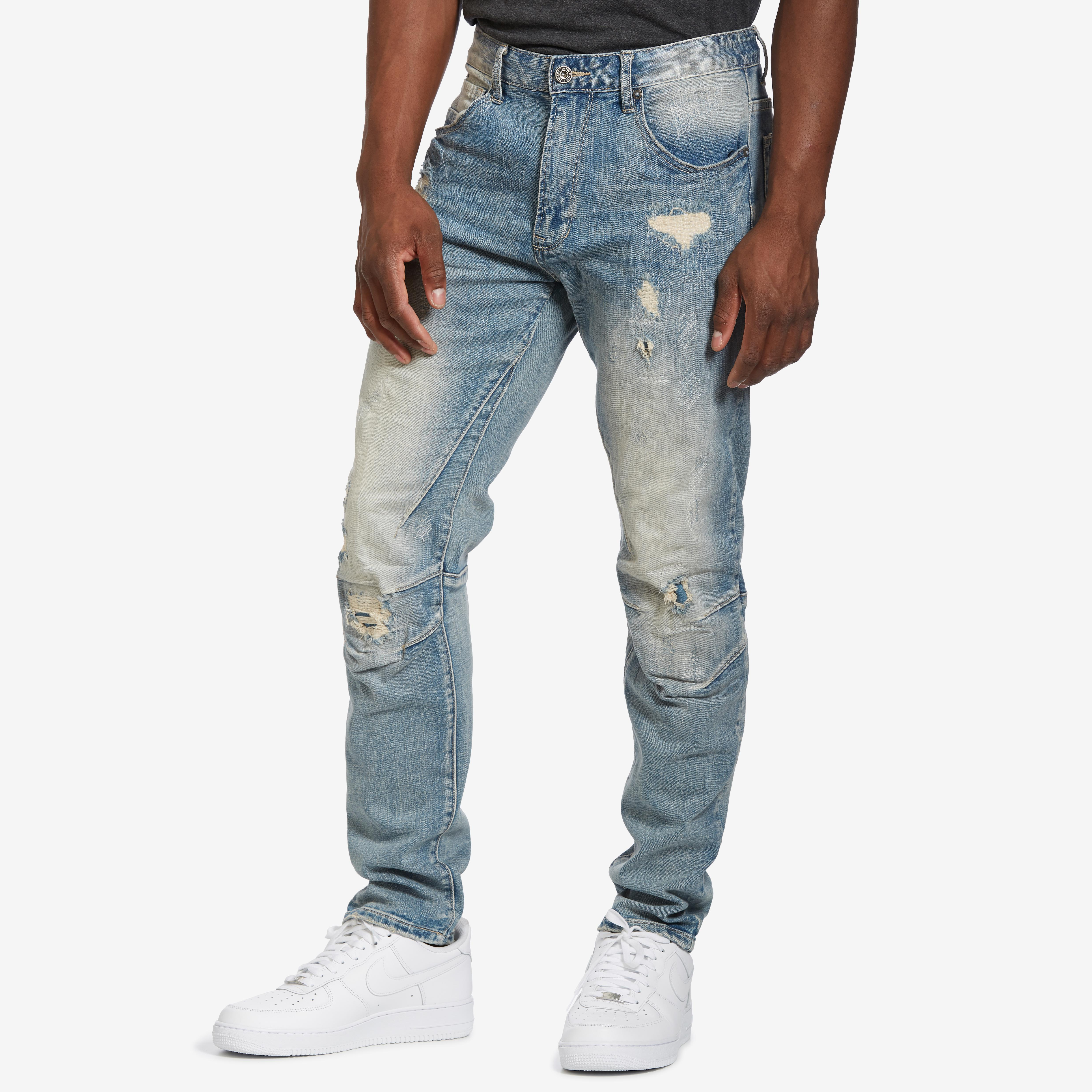 5 Pocket Ripped And Torn Relaxed Tapered Jeans