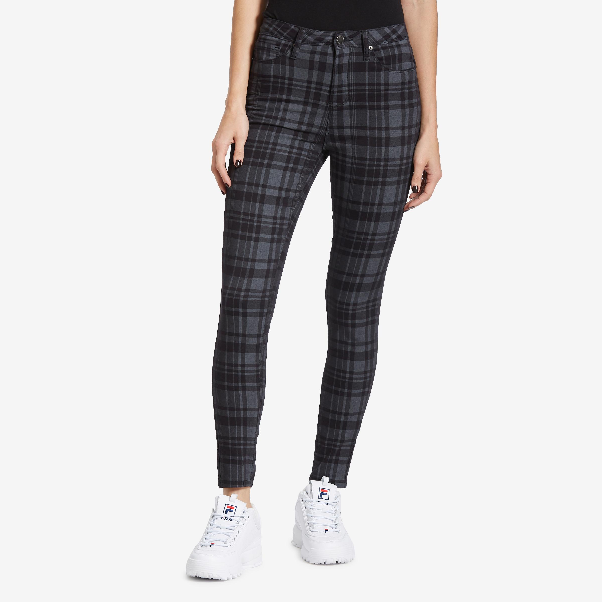 Junior's High- Rise Plaid Skinny Pants