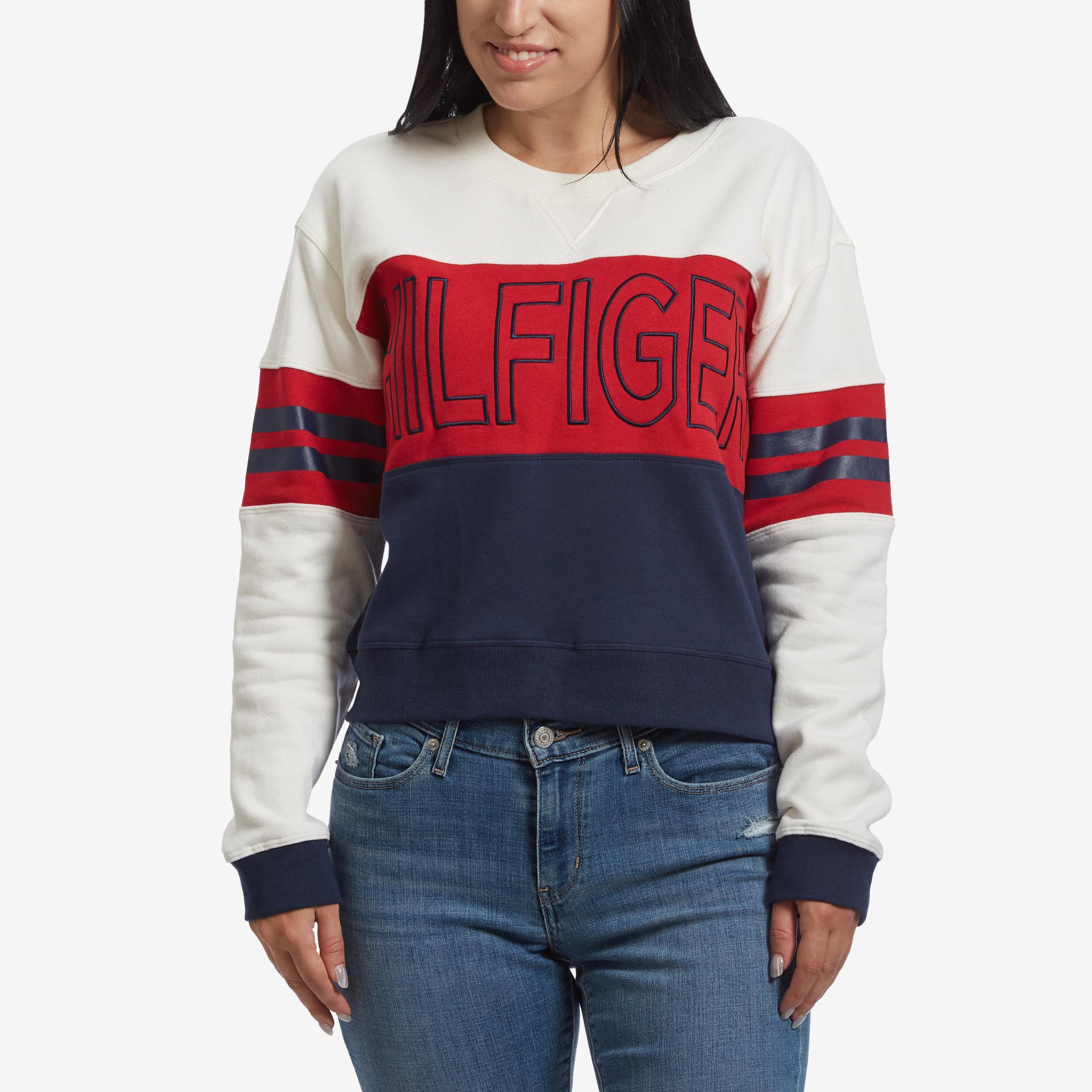 Cropped Color Block Logo Sweatshirt