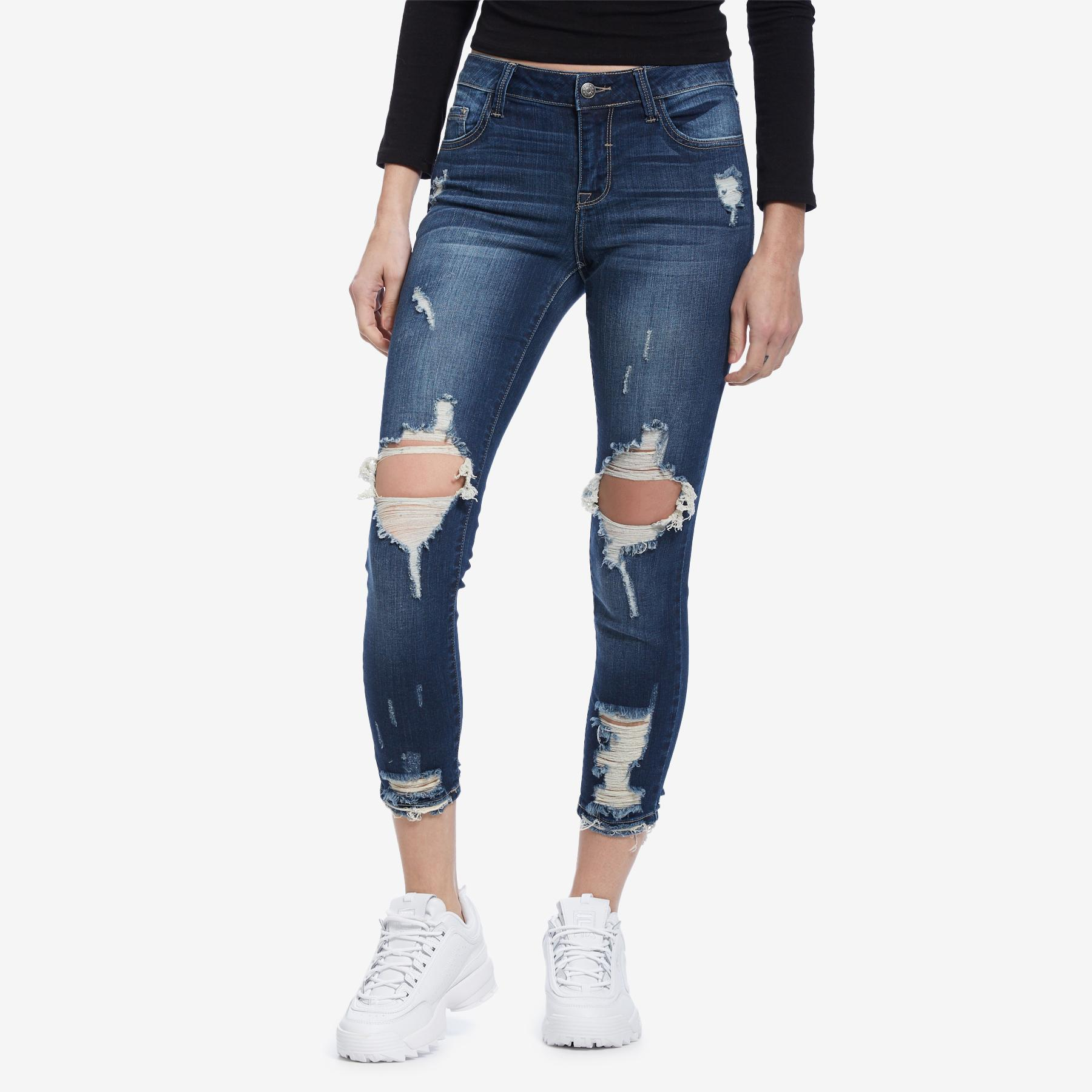 High Rise Distressed Knee Skinny Jeans