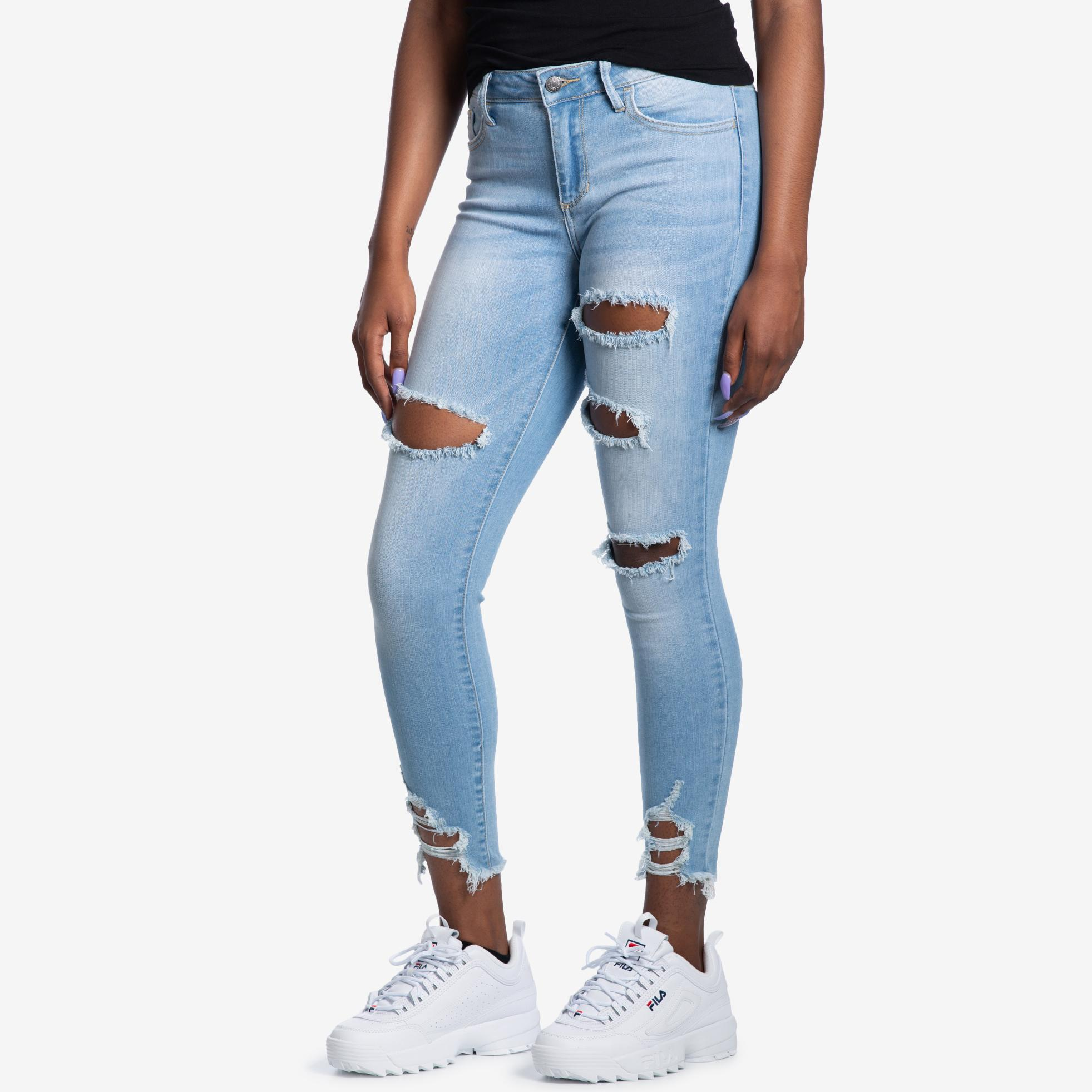 Mid Rise Distressed Cropped Skinny Jeans