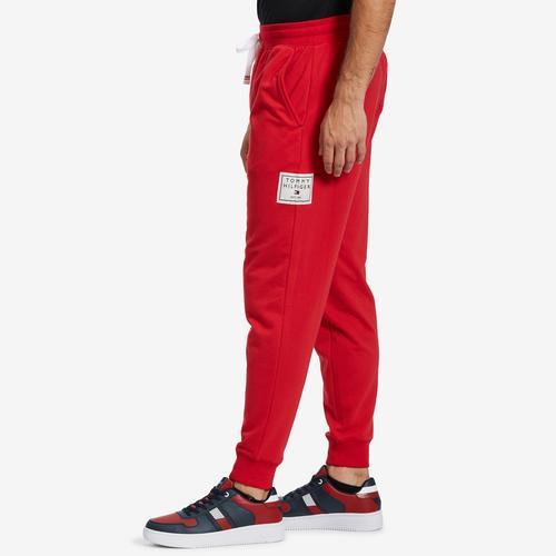 Left Side View of Tommy Hilfiger Men's Box Logo Fleece Joggers