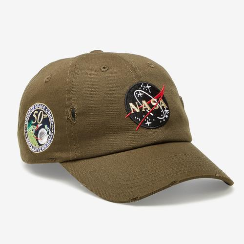 Front Left view of Field Grade NASA Kennedy Space Center 50th Anniversary Distressed Hat