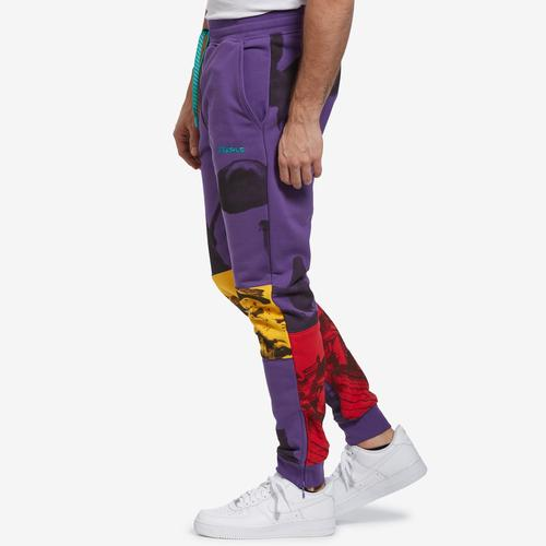Right Side View of Staple Men's World Collage Photo Sweatpants