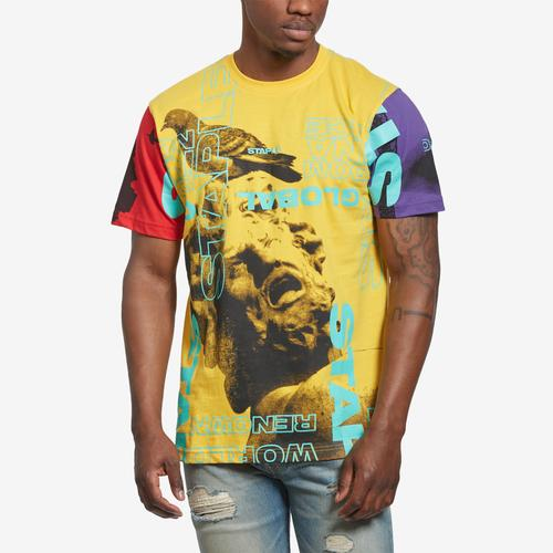 Front View of Staple Men's World Collage Photo Tee