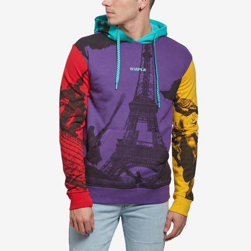 Front View of Staple Men's World Collage Photo Hoodie