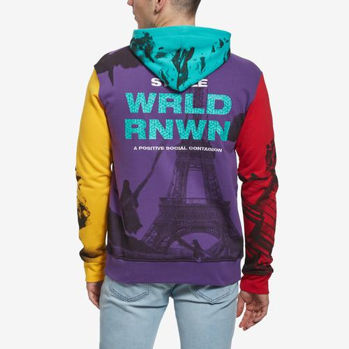 Back View of Staple Men's World Collage Photo Hoodie