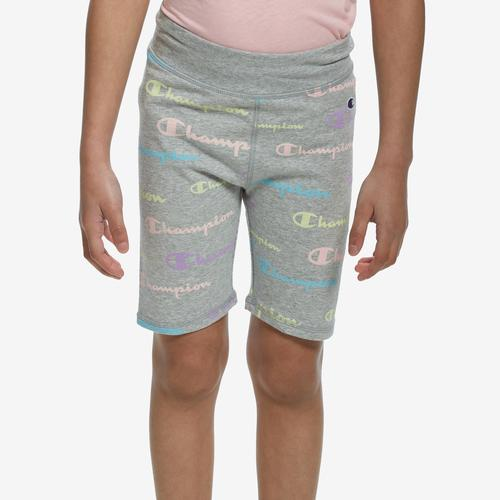 Front View of Champion Girl's All Over Print Bike Shorts