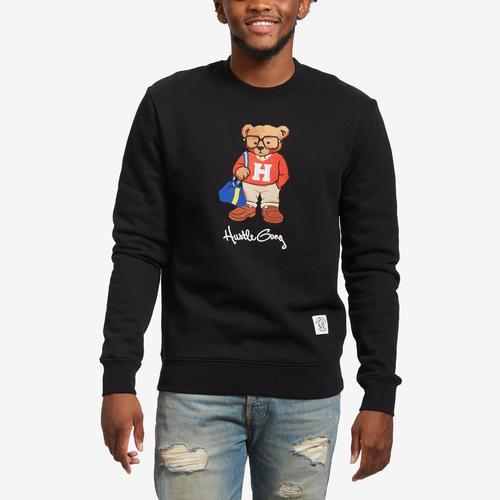 Front View of Hustle Gang Men's Hustle Bear Crew Sweatshirt