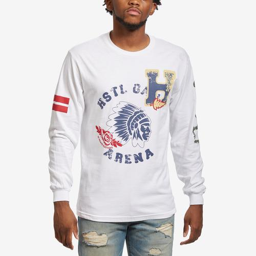 Front View of Hustle Gang Men's H-Leaf Long Sleeve T-Shirt