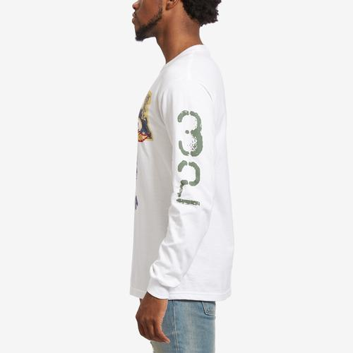 Left Side View of Hustle Gang Men's H-Leaf Long Sleeve T-Shirt