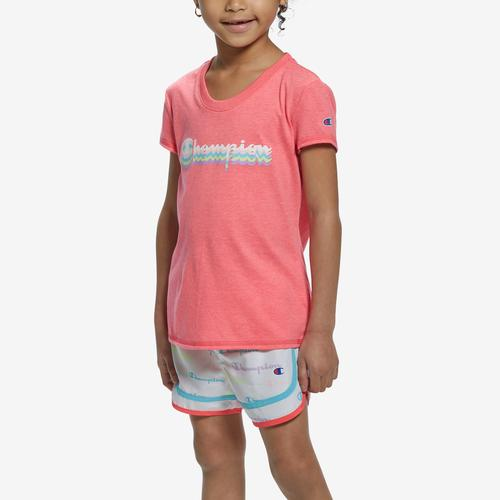 Front View of Champion Girl's T-Shirt and Shorts Set