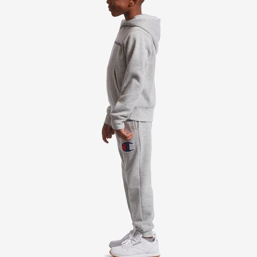Left Side View of Champion Boy's Preschool Heritage Hoodie And Jogger Se