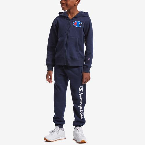 Front View of Champion Boy's Preschool Full Zip Hoodie And Jogger Se