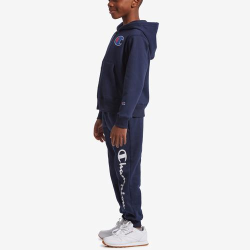 Left Side View of Champion Boy's Preschool Full Zip Hoodie And Jogger Se