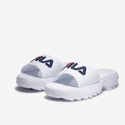 Side Angle View of FILA Women's Disruptor Bold Slide Sneakers