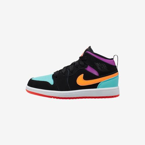 Left Side View of Jordan Girl's Preschool Air Jordan 1 Mid Sneakers