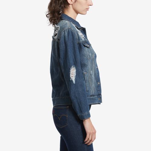 Left Side View of Highway Jeans Women's Distressed Denim Jacket