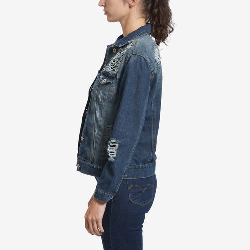 Right Side View of Highway Jeans Women's Distressed Denim Jacket