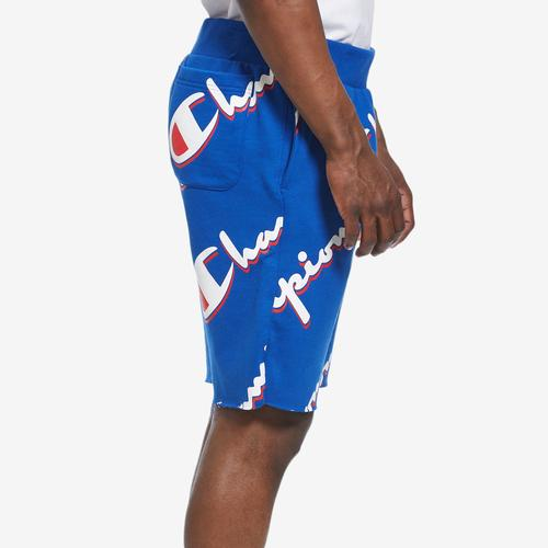 Left Side View of Champion Men's Reverse Weave Cut-Off Shorts, All Over Logo