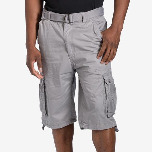 Front View of EBL Men's Belted Cargo Shorts