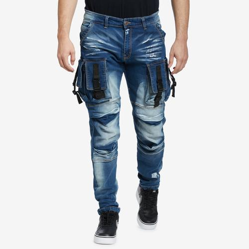 Front View of Copper Rivet Men's 3D Denim Cargo Jean
