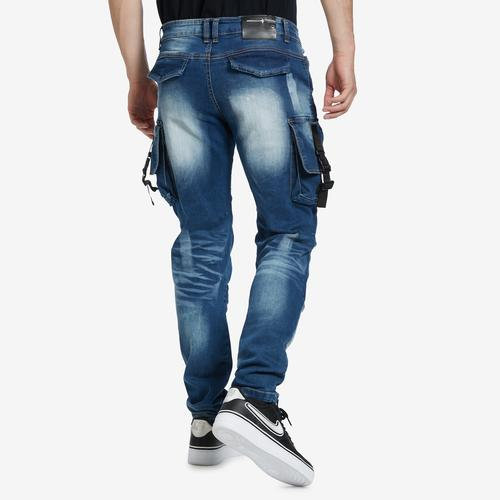 Back View of Copper Rivet Men's 3D Denim Cargo Jean