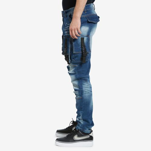 Left Side View of Copper Rivet Men's 3D Denim Cargo Jean