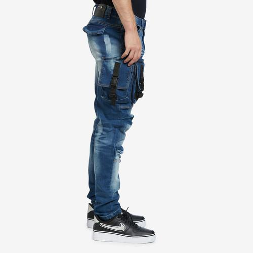 Right Side View of Copper Rivet Men's 3D Denim Cargo Jean