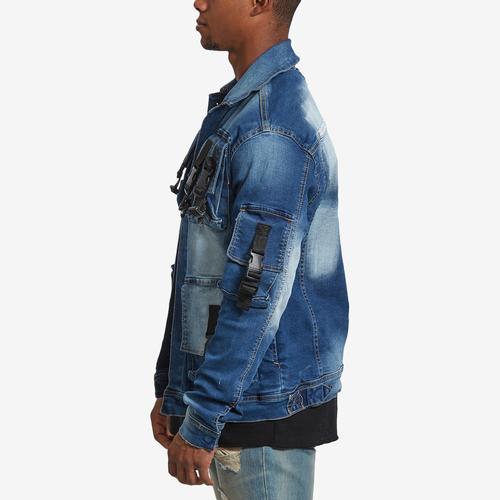 Left Side View of Copper Rivet Men's 3D Pocket Denim Jacket