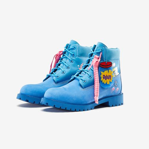 Side Angle View of Timberland Boy's Grade School SpongeBob x Timberland 6-Inch Premium Waterproof Boots Sneakers