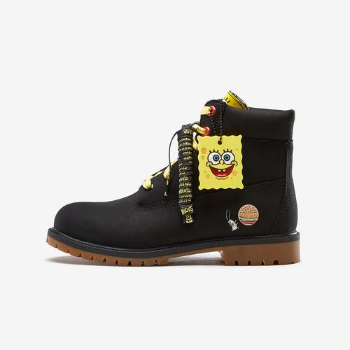 Left Side View of Timberland Boy's Grade School SpongeBob x Timberland 6-Inch Premium Waterproof Boots Sneakers