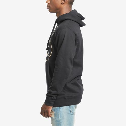 Left Side View of Baws Men's Blackout Gold Hoodie